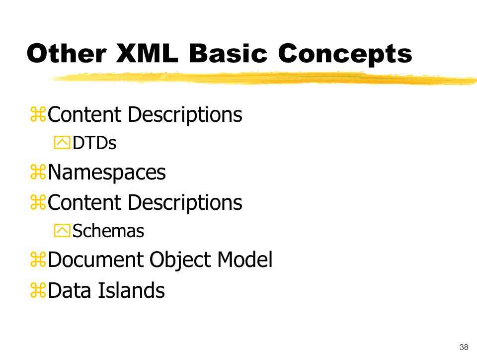 39 Content Description zDocuments have structure yDocument types yDocument instances zStructure can be defined yInformally ySGML DTD yXML DTD ySchema using XML