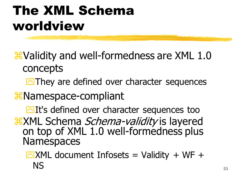 54 Valid and Well-Formed XML Documents zWell-formed document: ycontains one or more elements ythere is precisely one root element yall other tags nest within each other correctly zValid document: document complies with DTD/Schema ycontent model validity: order and nesting ydata type validity: correct type and other constraints satisfaction e.g.