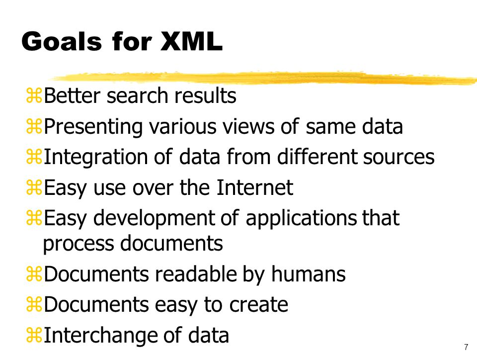8 XML Background zWhere does XML come from? zWhat is it (in general) zWho specifies it?