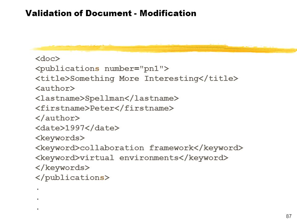 88 Validation of Document - Results D:\docs\cis\domexample>java Validator..\publications.xml [Error] publications.xml:15:24: Attribute, number , is not declared in element, publications .