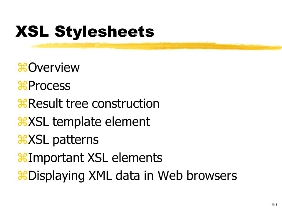91 Extensible Stylesheet Language (XSL) Overview zEnables display of XML by transforming XML into structure suitable for display, for example HTML zXSL transformations can be executed on the server to provide HTML documents for older browsers zProvides mechanisms for transformation of XML data from one schema to another zEnables converting XML documents through querying, sorting, and filtering zAssociation with XML document: