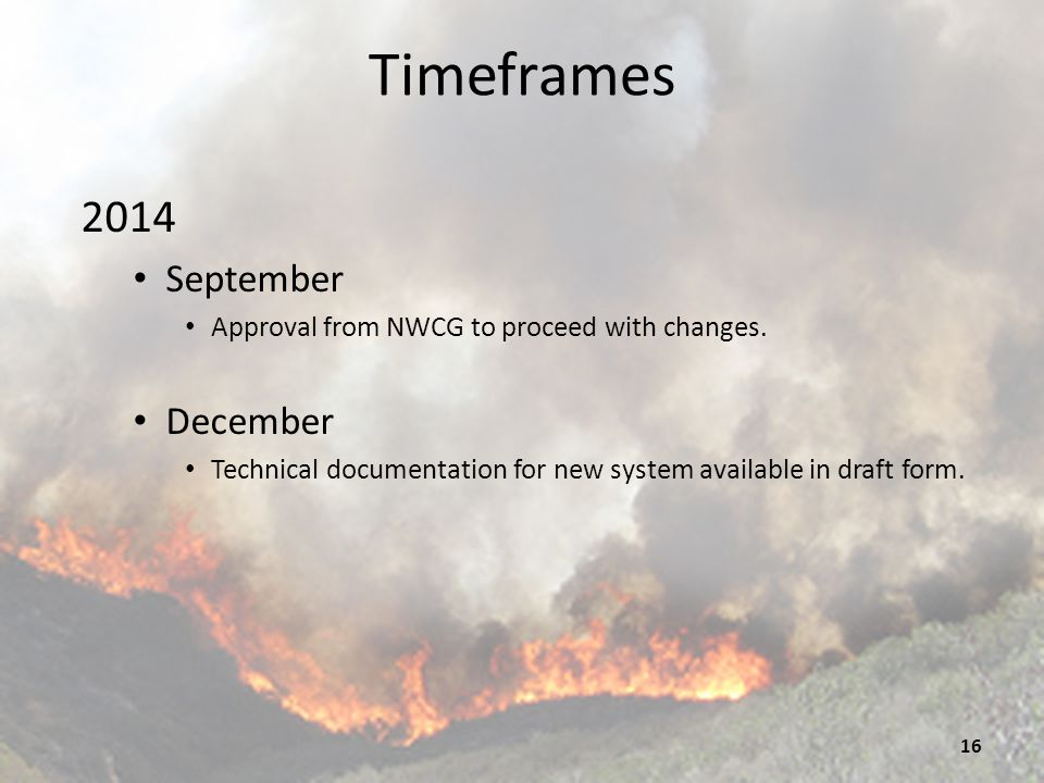 Timeframes 2015 January Develop NFDRS 2016 and move to Weather Information Management System (WIMS) testing side.