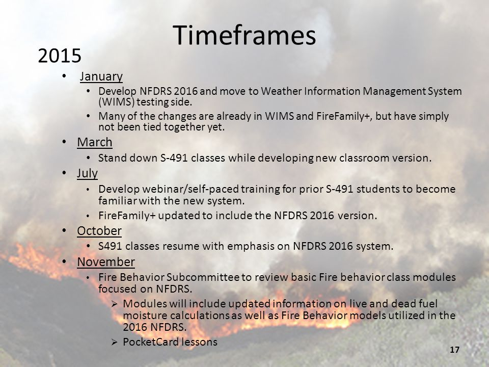 Timeframes 2016 January NFDRS 2016 moved from test side of WIMS to production side of WIMS.
