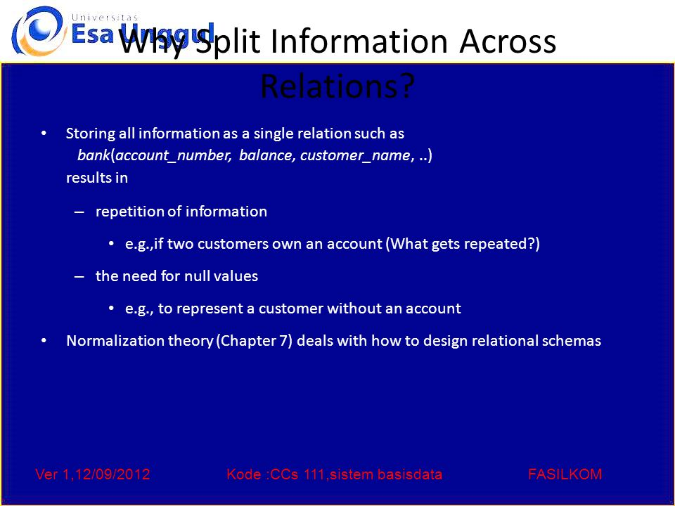 Ver 1,12/09/2012Kode :CCs 111,sistem basisdataFASILKOM Keys Let K  R K is a superkey of R if values for K are sufficient to identify a unique tuple of each possible relation r(R) – by possible r we mean a relation r that could exist in the enterprise we are modeling.