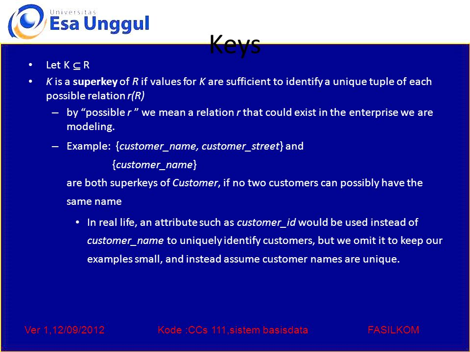 Ver 1,12/09/2012Kode :CCs 111,sistem basisdataFASILKOM Keys (Cont.) K is a candidate key if K is minimal Example: {customer_name} is a candidate key for Customer, since it is a superkey and no subset of it is a superkey.
