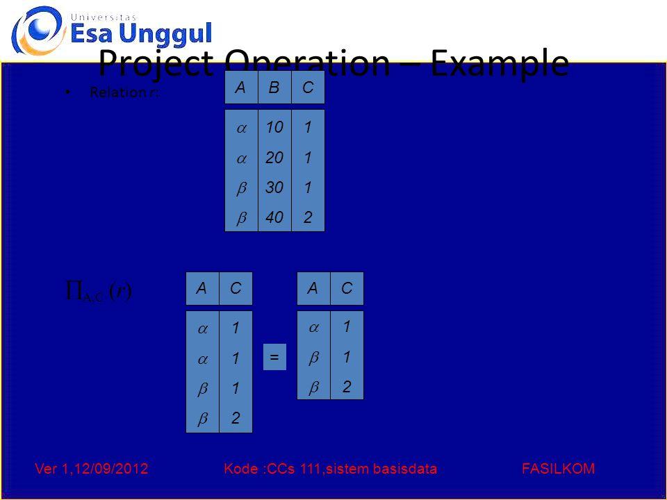Ver 1,12/09/2012Kode :CCs 111,sistem basisdataFASILKOM Union Operation – Example Relations r, s: r  s: AB  121121 AB  2323 r s AB  12131213