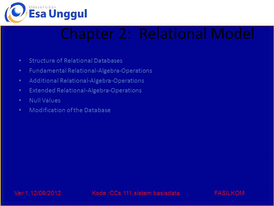 Ver 1,12/09/2012Kode :CCs 111,sistem basisdataFASILKOM Example of a Relation