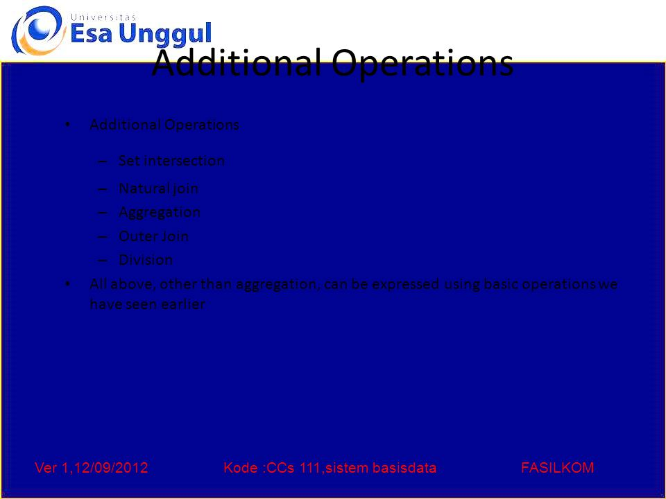 Ver 1,12/09/2012Kode :CCs 111,sistem basisdataFASILKOM Set-Intersection Operation – Example Relation r, s: r  s A B  121121  2323 rs  2