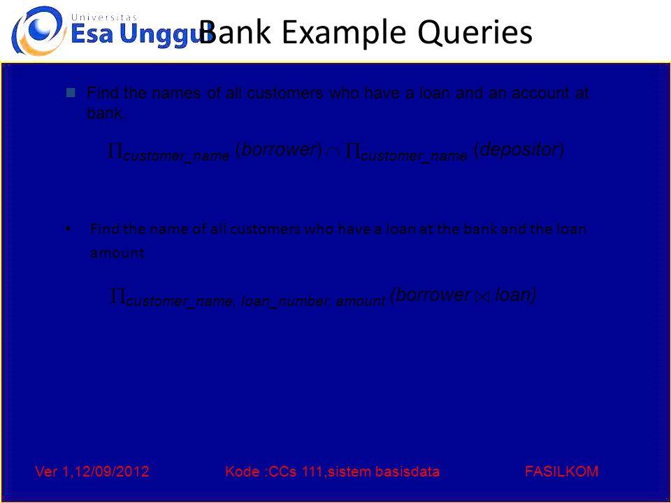 Ver 1,12/09/2012Kode :CCs 111,sistem basisdataFASILKOM Query 1  customer_name (  branch_name = Downtown (depositor account ))   customer_name (  branch_name = Uptown (depositor account)) Query 2  customer_name, branch_name (depositor account)   temp(branch_name ) ({( Downtown ), ( Uptown )}) Note that Query 2 uses a constant relation.