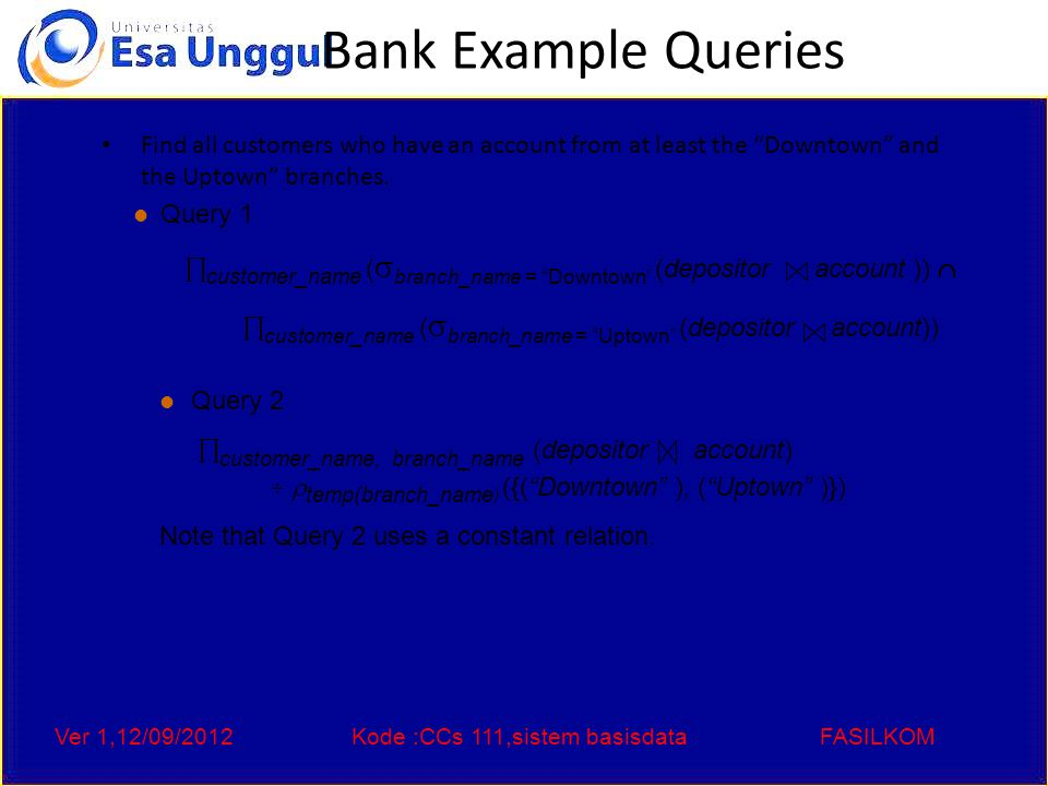 Ver 1,12/09/2012Kode :CCs 111,sistem basisdataFASILKOM Bank Example Queries Find all customers who have an account at all branches located in Brooklyn city.