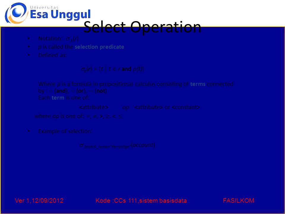 Ver 1,12/09/2012Kode :CCs 111,sistem basisdataFASILKOM Project Operation Notation: where A 1, A 2 are attribute names and r is a relation name.