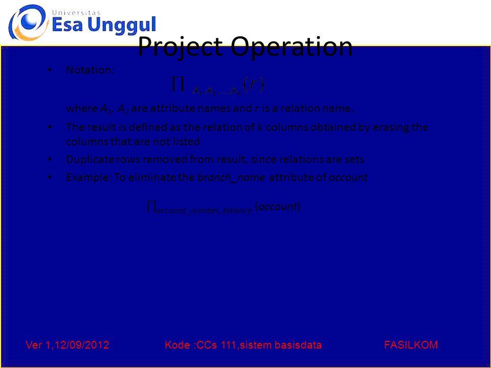 Ver 1,12/09/2012Kode :CCs 111,sistem basisdataFASILKOM Union Operation Notation: r  s Defined as: r  s = {t   t  r or t  s} For r  s to be valid.