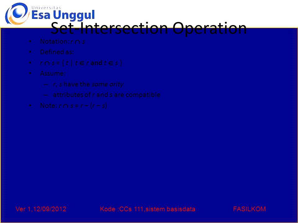 Ver 1,12/09/2012Kode :CCs 111,sistem basisdataFASILKOM Assignment Operation The assignment operation (  ) provides a convenient way to express complex queries.