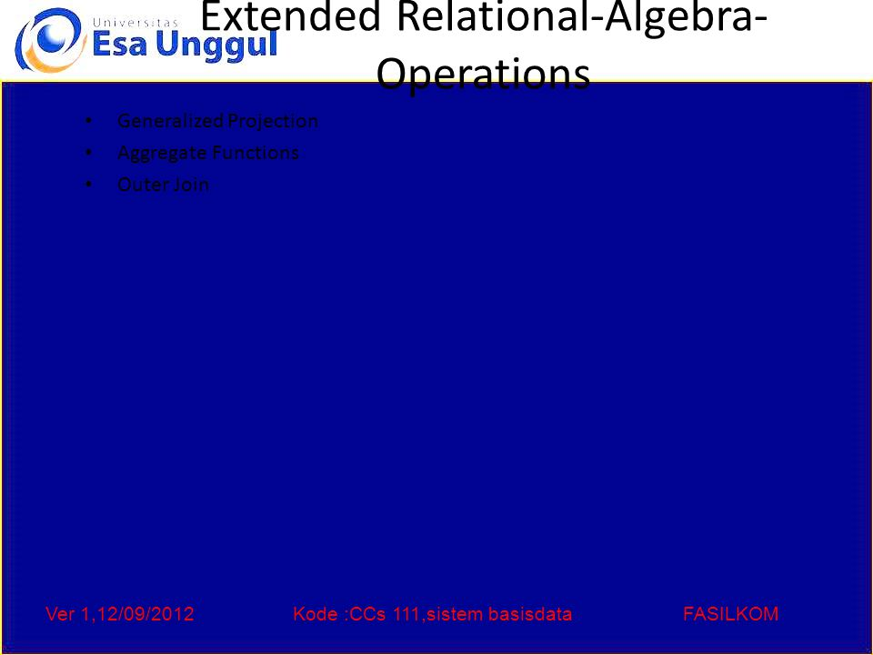 Ver 1,12/09/2012Kode :CCs 111,sistem basisdataFASILKOM Generalized Projection Extends the projection operation by allowing arithmetic functions to be used in the projection list.