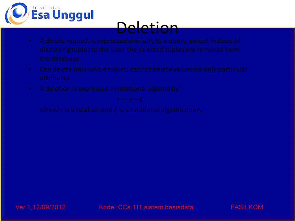 Ver 1,12/09/2012Kode :CCs 111,sistem basisdataFASILKOM Deletion Examples Delete all account records in the Perryridge branch.