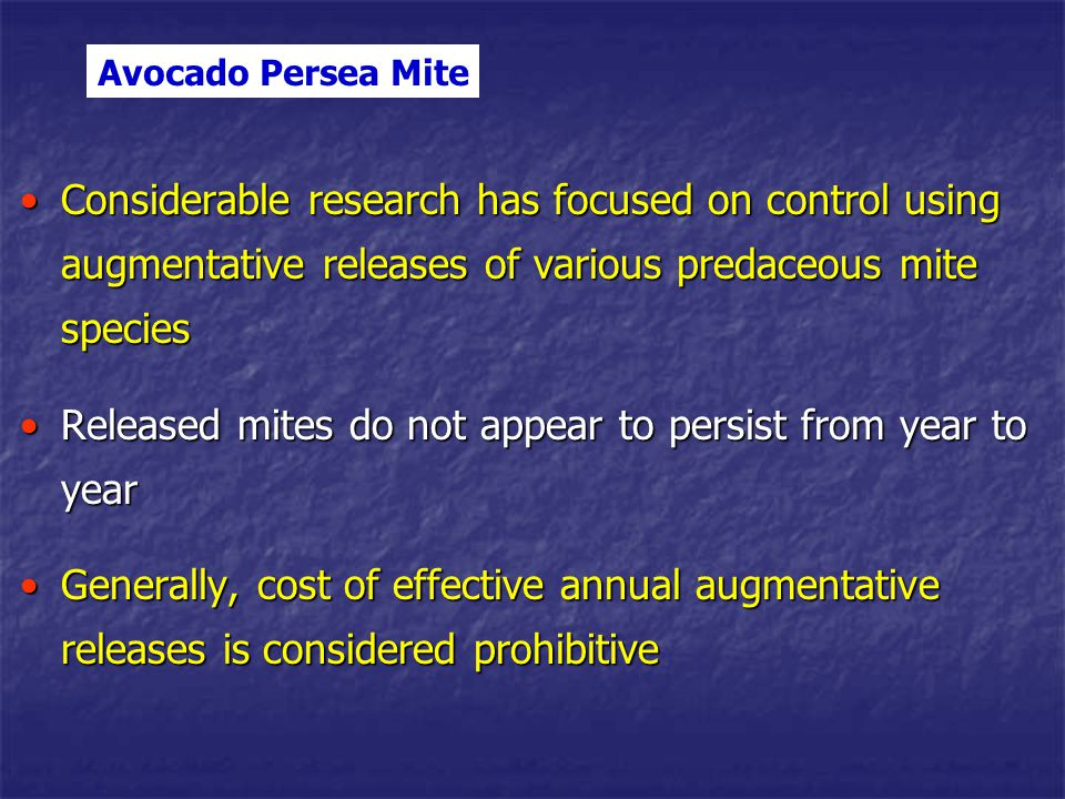 General observation – avocado thrips and persea mite can build to economically injurious levels quickly under ideal conditionsGeneral observation – avocado thrips and persea mite can build to economically injurious levels quickly under ideal conditions Optimal weather conditions (cool coastal weather)Optimal weather conditions (cool coastal weather) Presence of leaf, leaf flushes or young fruit (avocado monoculture = a banquet)Presence of leaf, leaf flushes or young fruit (avocado monoculture = a banquet) Low endemic levels of biological control agentsLow endemic levels of biological control agents Thus, an integrated approach is needed with key avocado pests