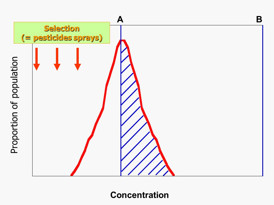 Concentration AB Distribution after resistance has evolved Proportion of population