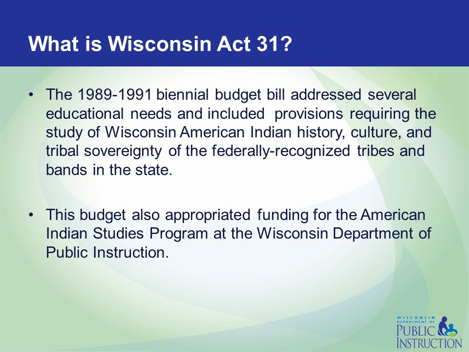 Wisconsin Act 31 Created the Following Statutory Sections s.