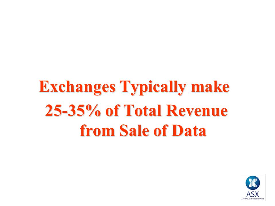 Exchanges Typically make 25-35% of Total Revenue from Sale of Data 25-35% of Total Revenue from Sale of Data