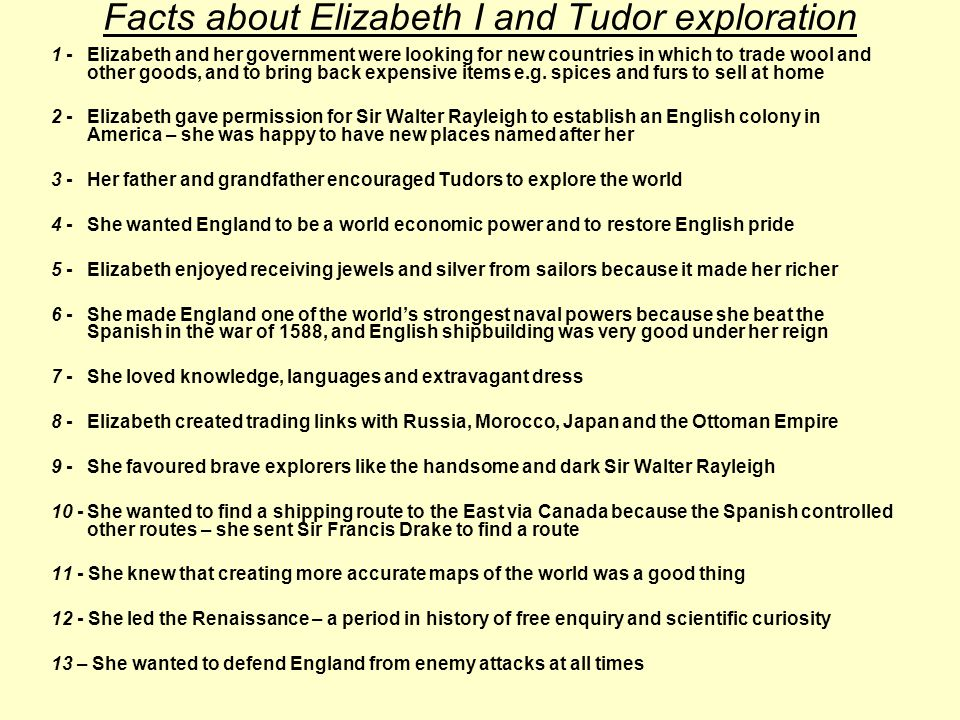 Activities: Group 1 – Watch the cartoon clip of Elizabeth I with Drake and Rayleigh.