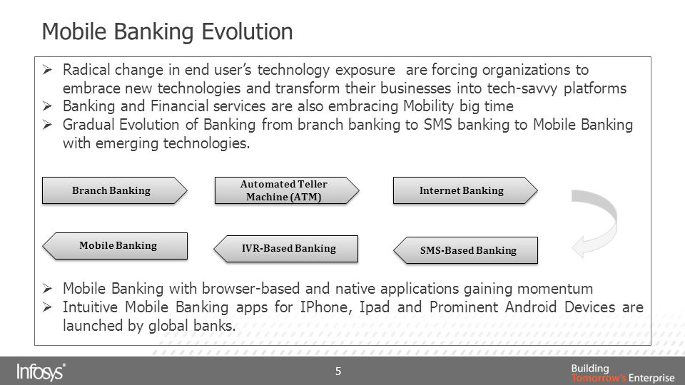 Mobile Banking Services 6 Stock Trading Global Payment for business transaction Remote Deposit Check Advertising and Brand Building Social Networking News and Update Bill Payment Third Party Payment Account Transfer Balance Information Monthly Statement Transaction History Alerts and Updates Information Based Services Transaction Based Services mCommerce Multimedia Apps Services in Mobile Banking  SMS Banking  Mobile Web Banking  Native App Banking  A2P Messaging  Location Based Services  Near Field Communication  Remote Deposit Check  Augmented Reality