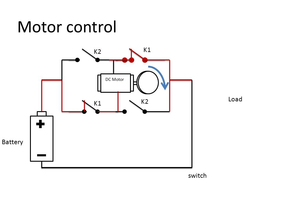 Relay and Contract switch Load DC Motor