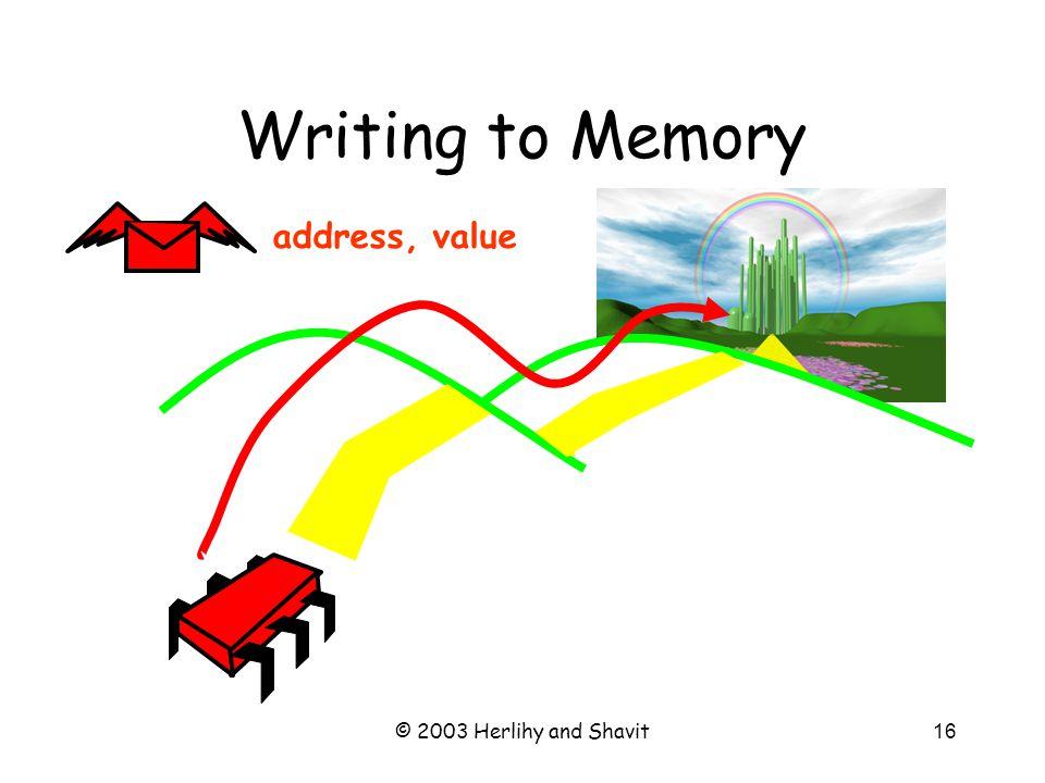 © 2003 Herlihy and Shavit17 Writing to Memory zzz…
