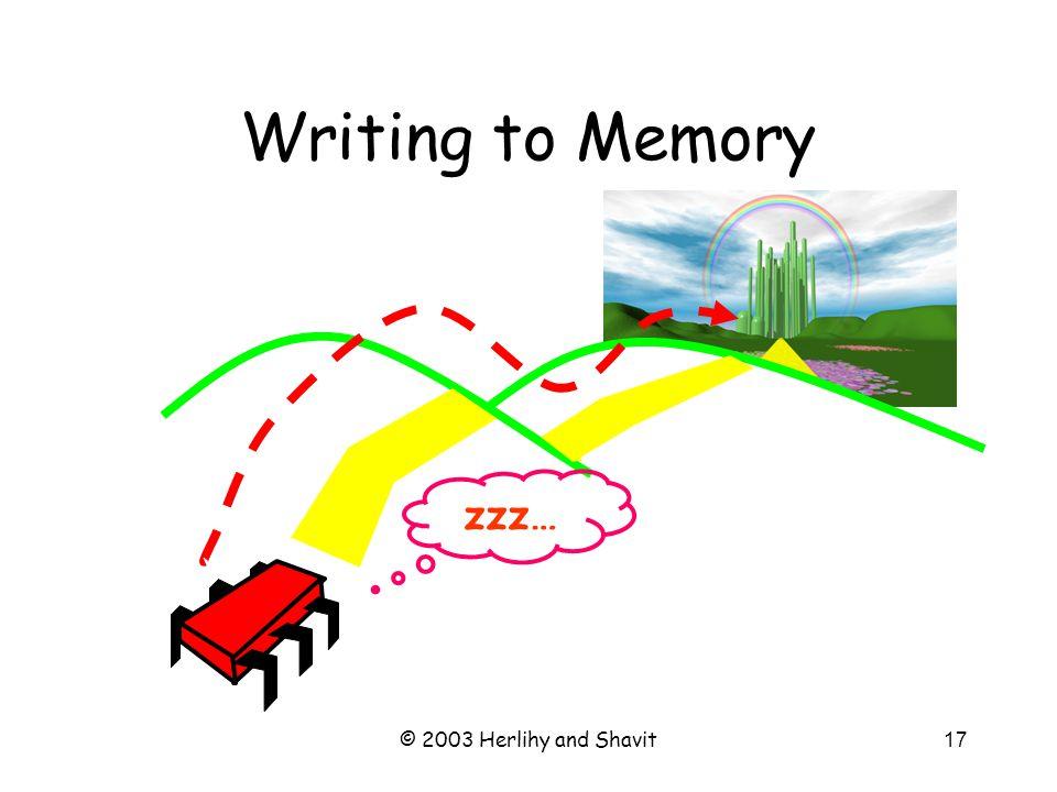 © 2003 Herlihy and Shavit18 Writing to Memory ack