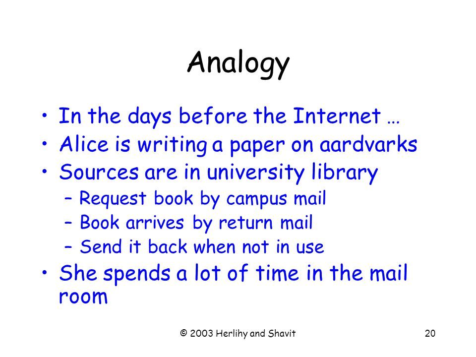 © 2003 Herlihy and Shavit21 Analogy II Alice buys –A desk In her office To keep the books books she is using now –A bookcase in the hall To keep the books she will need soon