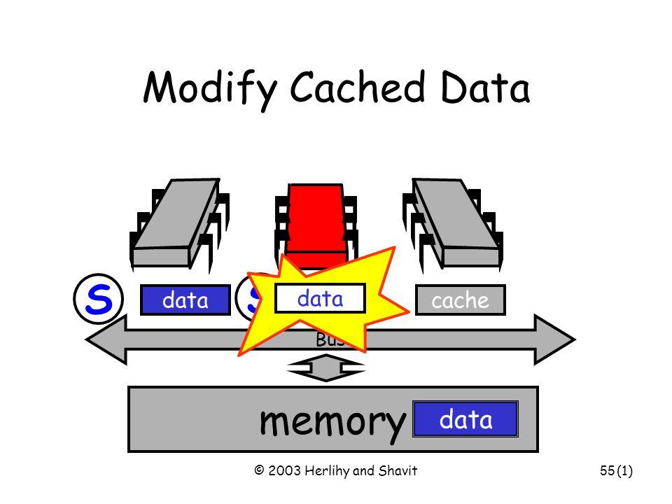© 2003 Herlihy and Shavit56 S memory data Bus Write-Through Cache Bus cache data Write x! (5) S