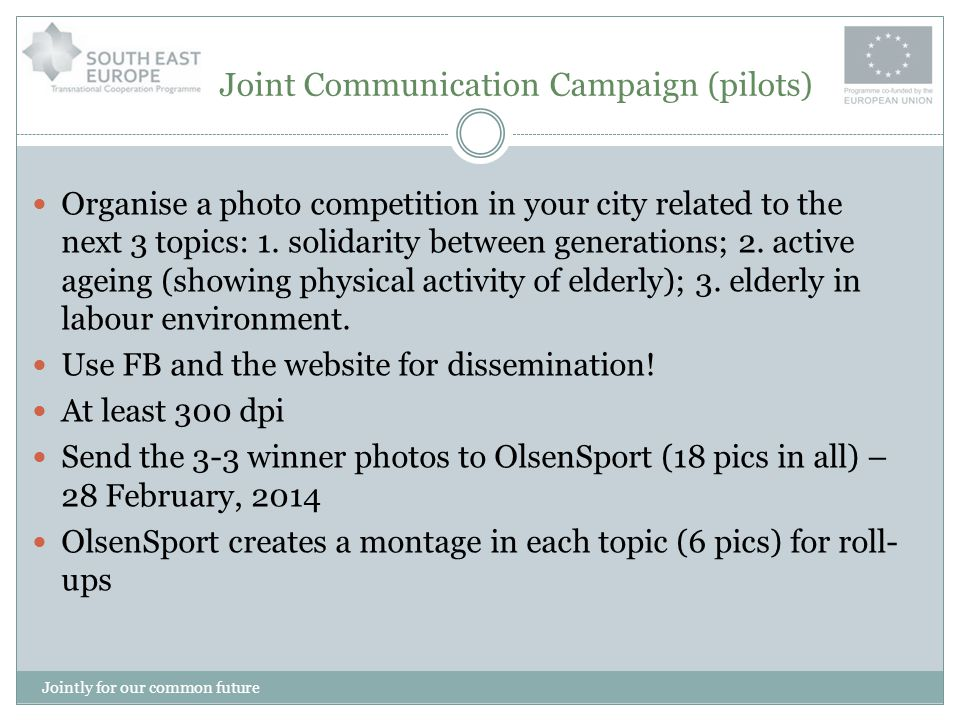 Joint Communication Campaign (pilots) Each partners is requested to print out at least 1 roll-up OlsenSport creates a montage for Youtube in EN Please use the joint roll-up and the Youtube for local pilot campaigns Check your budget, this is only one part of the pilot dissemination only, plan your activities.
