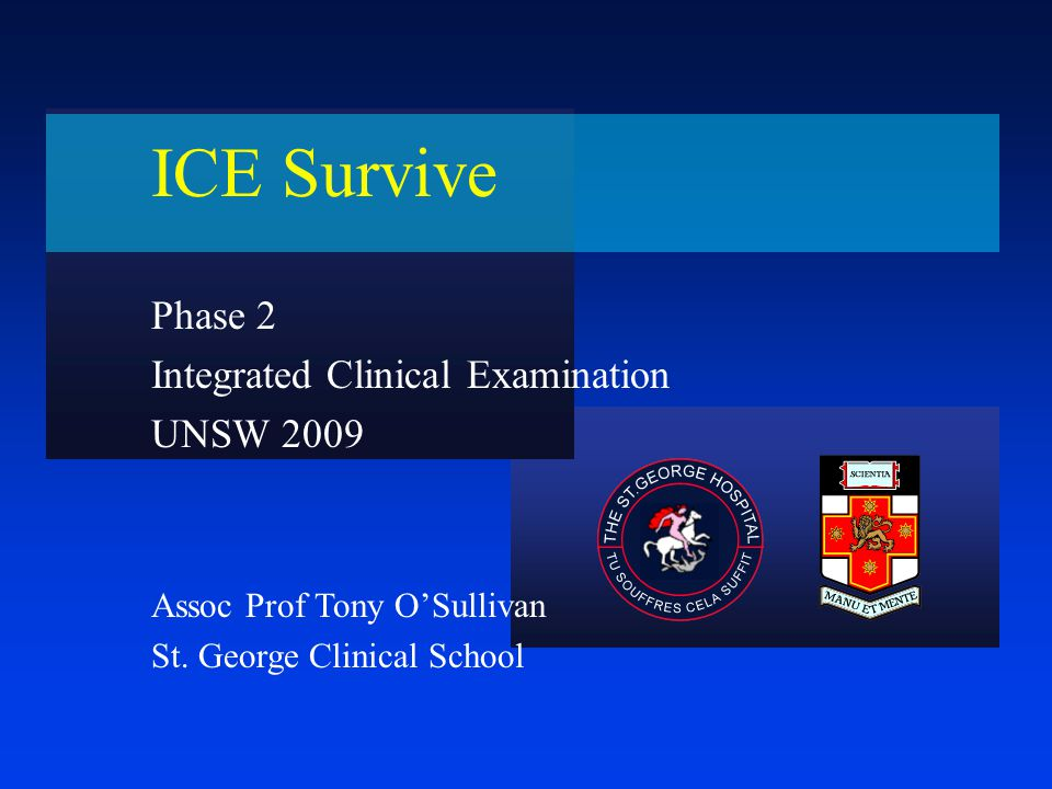Integrated Clinical Examination The objectives of the ICE is to assess: –History taking and communication skills –Clinical examination –Clinical judgement & synthesis –Application of basic knowledge –Communication skills –Some basic management principles –Make sure you review the objectives in the student guide –Barrier examination