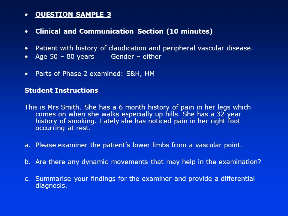 VIVA SECTION SAMPLE 2: Discussion on risk factors for atherosclerosis (10 minutes) Parts of Phase 2 examined: S&H, HM Instructions to student: Question 1.