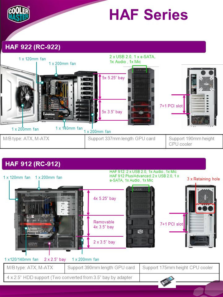 HAF Series E-SATA x1 7+1 expansion slots HAF 912 Plus only HAF 912 Advanced only 3.5 HDD cage changes 90 degree direction One 200 mm red LED fan 7+1 expansion slots 3.5 HDD cage changes 90 degree direction HAF 912 Series One 200 mm Fan (optional) HAF 912 PLUS / HAF 912 Advanced HAF 912 Support two external Radiator120 mm fans Support two external Radiator 120 mm fans One 200 mm fan (HAF 912 Advanced only)