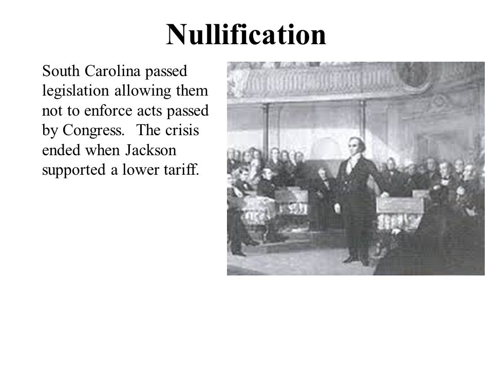 Force Bill In 1833, Congress passed the Force Bill which allowed the president to use the military if necessary to carry out the laws.