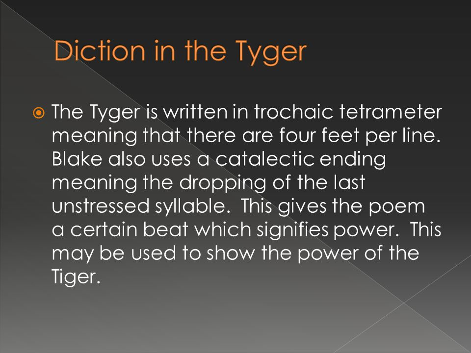  The Tyger was written along with its sister poem, the Lamb to show how God created both powerful and weak beings.