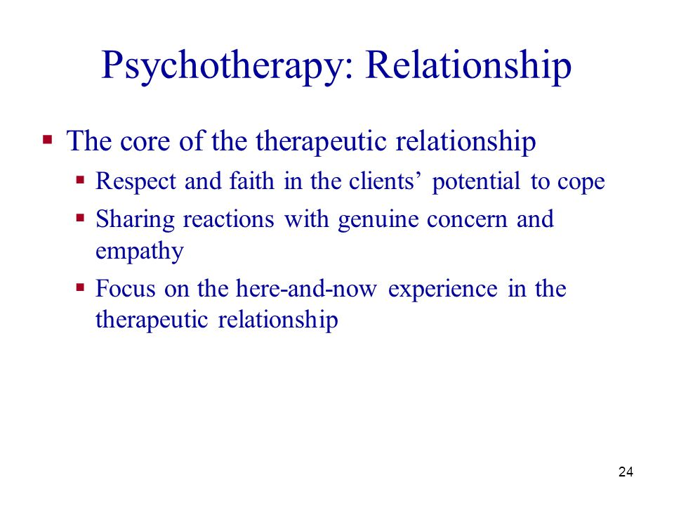 25 Psychotherapy: Techniques  Paradoxical intention  prescribing the symptom: help clients gain more control of their behavior, get unstuck  Situational reconstruction  think of three ways in which a situation could be better and three ways in which it could be worse - to help people move on from the place they are stuck  Compensatory self improvement  work on areas that you have control when you are in a situation you don t control