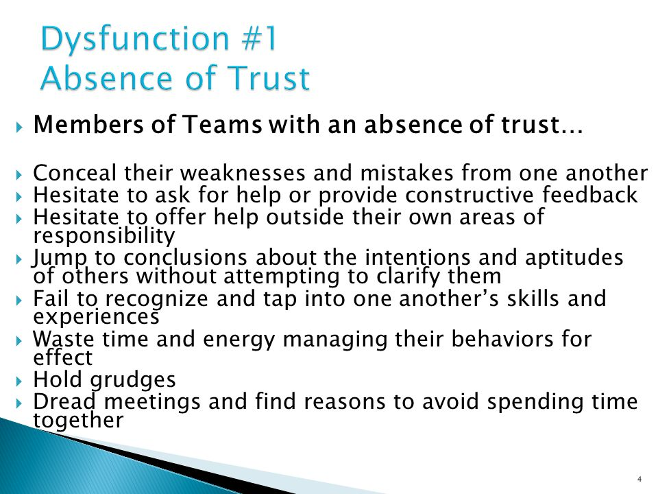 Members of Trusting teams…  Admit weaknesses and mistakes  Ask for help  Accept questions and input about their areas of responsibility  Give one another the benefit of the doubt before arriving at a negative conclusion  Take risks in offering feedback and assistance  Appreciate and tap into one another's skills and experiences  Focus time and energy on important issues, not politics  Offer and accept apologies without hesitation  Look forward to meetings and opportunities to work as a group 5