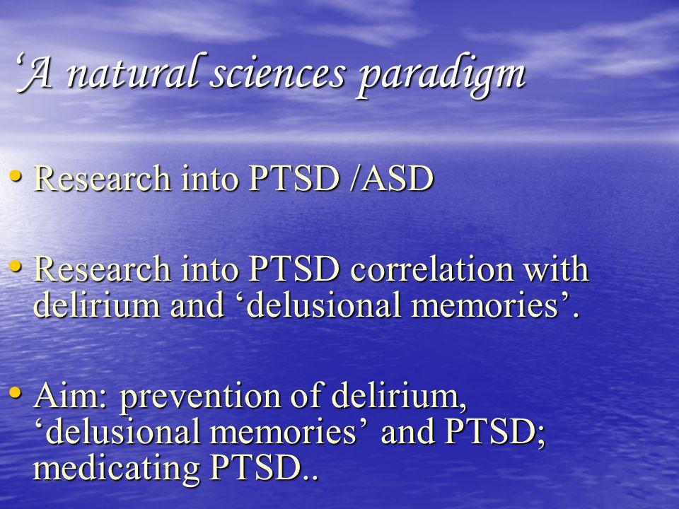 A humanistic, existential- phenomenological paradigm 'Vivid dreams and hallucinations'.