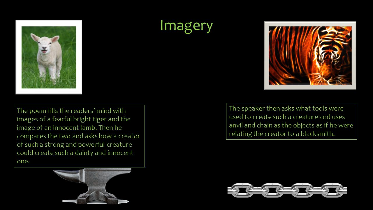 Examples of the imagery in The Tyger What the hammer.