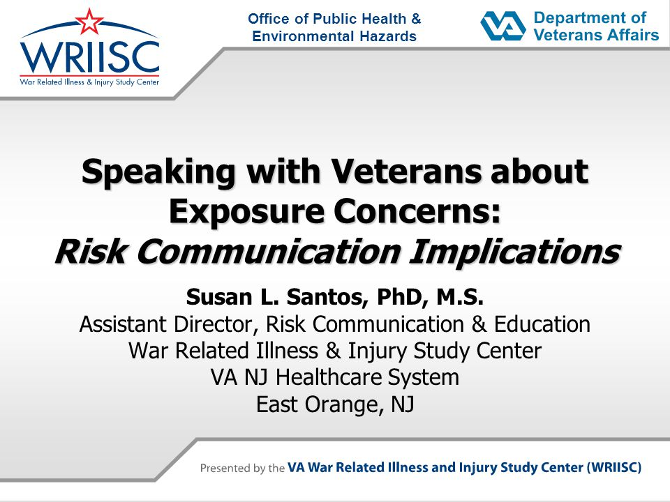 Disclaimer  The views expressed in this presentation are those of the author and do not necessarily represent the position of the Department of Veterans Affairs or the United States Government  I have no known conflicts of interest other than that I work for the Department of Veterans Affairs