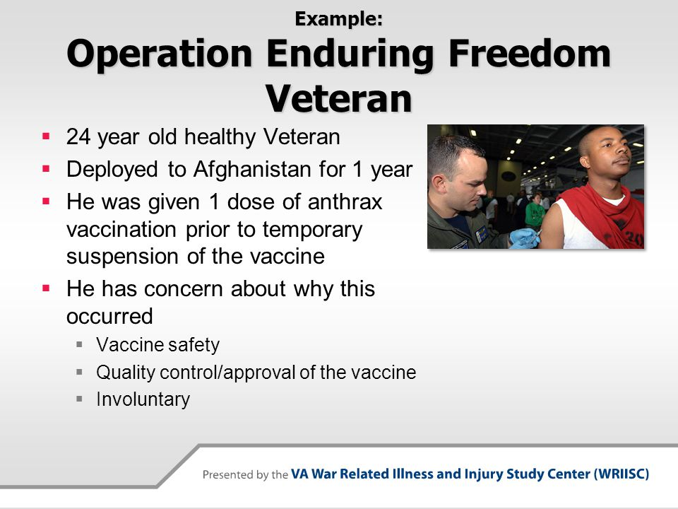 Risk Communication Approach  Listen to Veteran's concern about vaccine safety  Explain the risk and benefits of vaccine  Explain vaccine safety with appropriate language  Acknowledge any errors  Understand concern about voluntary vs.