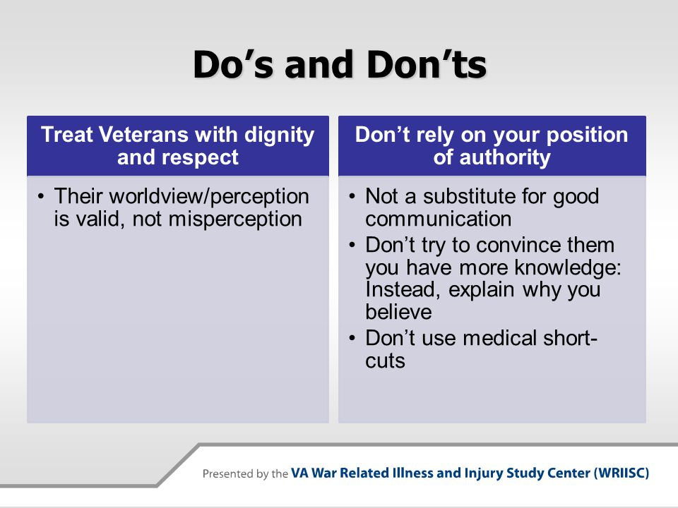 Summary  Risk communication is an important part of addressing Veterans' exposure concerns  There are things you can do to improve communication  Recognize our goal is to assist the Veteran in making the best decisions to support their health and well-being