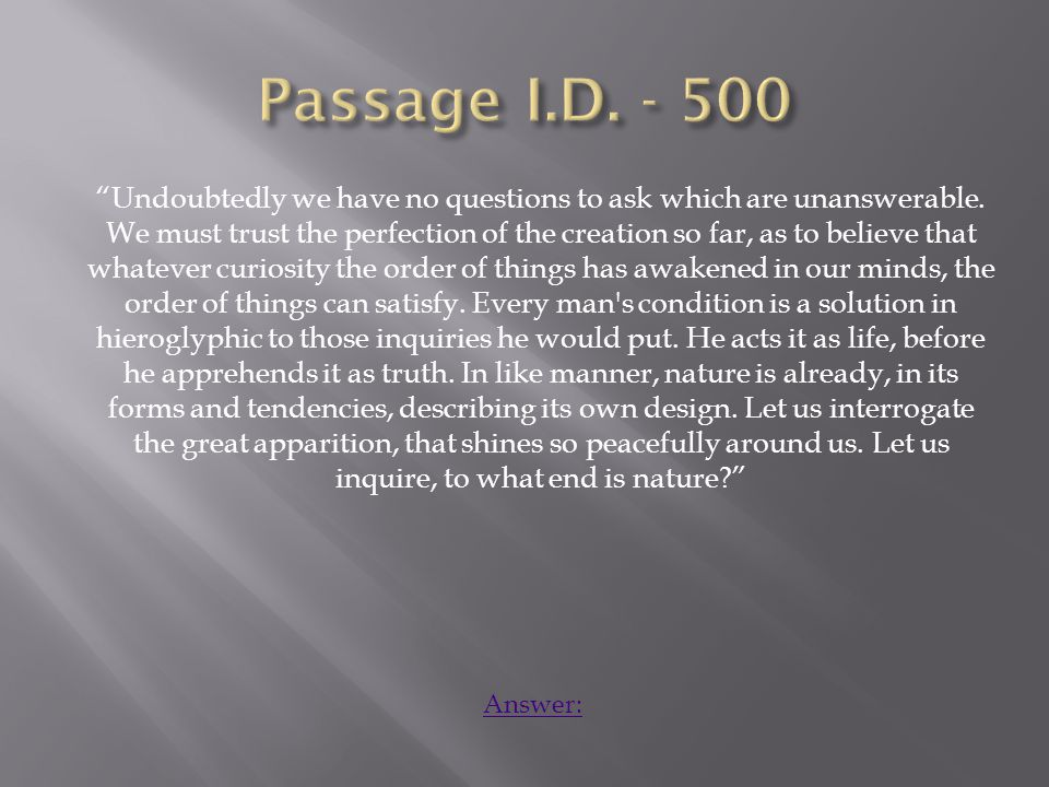 Romanticism – Transcendentalism – Emerson – Quest for knowledge, beauty of nature Home: