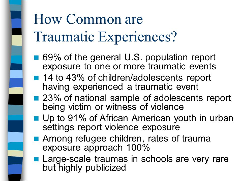 Effects of Trauma on Children Most people experience posttraumatic stress symptoms up to several weeks post-trauma.