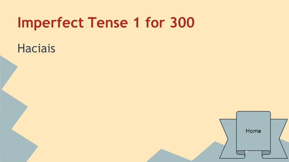 Imperfect Tense 1 for 400 In what form are imperfect verbs the same?