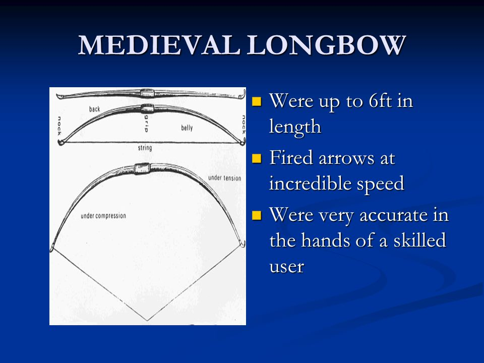 MEDIEVAL CROSSBOW Were very powerful much stronger than a longbow Fired shortened arrows called bolts which were half a foot long