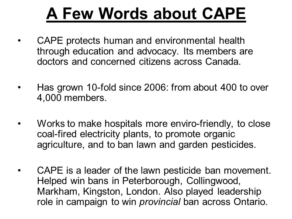 Health Risks of Pesticides Two key studies Ontario College of Family Physicians Representing over 9,000 Ontario doctors April 2004 the College released a systematic literature review of pesticides and human health.