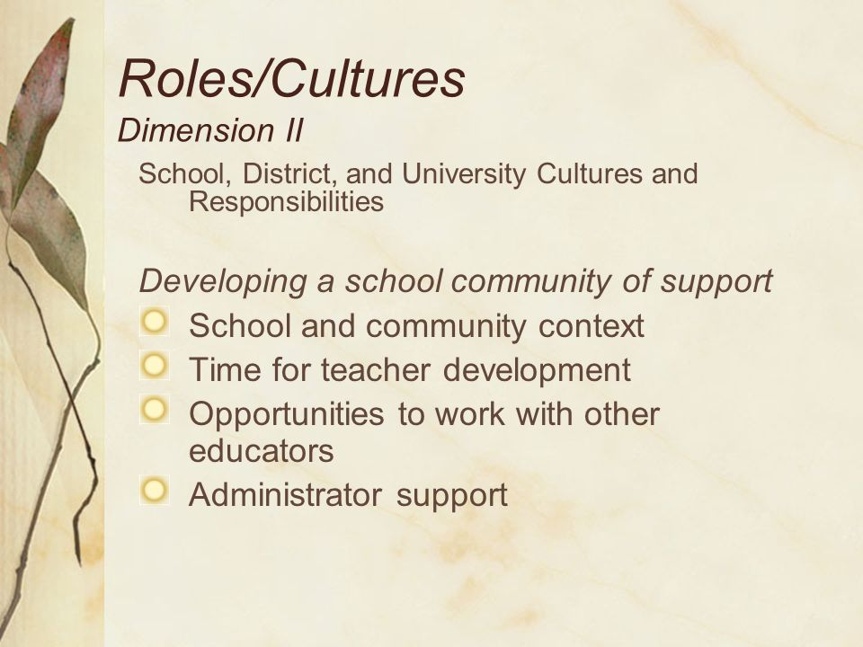 Roles/Cultures/Partnerships Dimension II University engagement Pre-service programs On-going professional development Research-based knowledge related to quality teaching