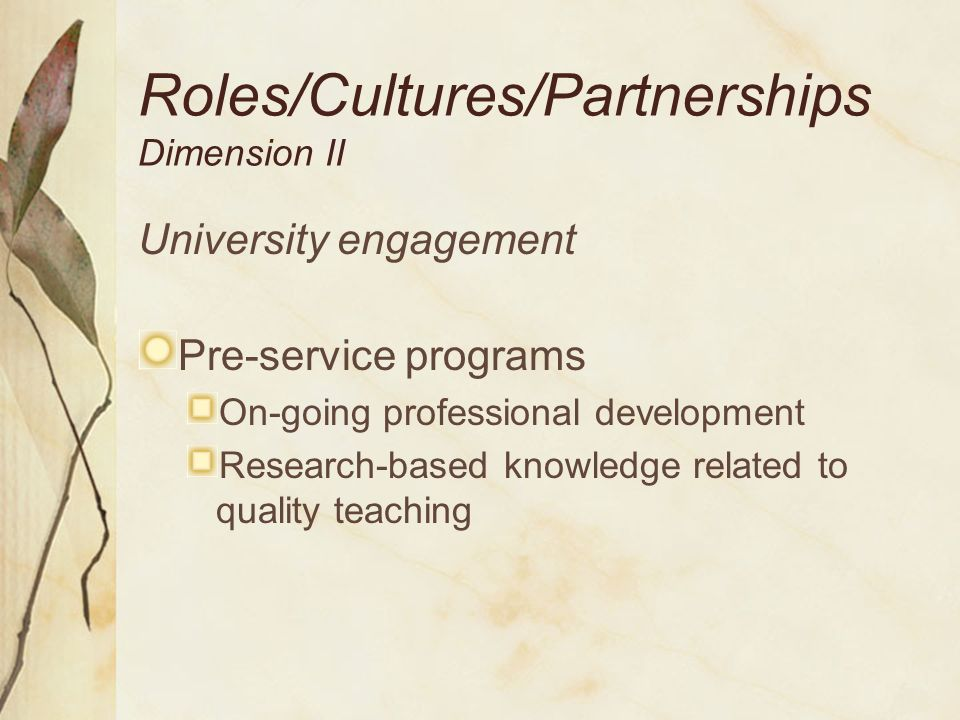 Roles/Cultures Dimension II Mentor role Learning to teach: a career-long process Teaching diverse learners Reflecting with novices Receiving recognition and compensation